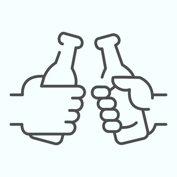 Alcohol friends bottles thin line icon. Two bottles in hands vector illustration isolated on white. Two hands holding beer outline style design, designed for web and app. Eps 10. Alcohol friends bottles thin line icon. Two bottles in hands vector illustration isolated on white. Two hands holding beer outline style design, designed for web and app. Eps 10 human limb stock illustrations
