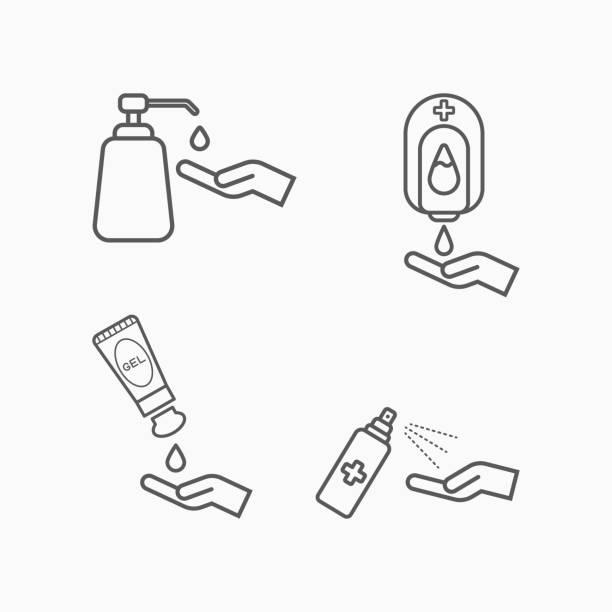 ilustraciones, imágenes clip art, dibujos animados e iconos de stock de gel de alcohol, gel de lavado de manos, tubo de gel, lavado de manos de bomba, máquina de alcohol, desinfectante de manos, botella de bomba, spray, spray de alcohol, icono de conjunto de alcohol - hand sanitizer