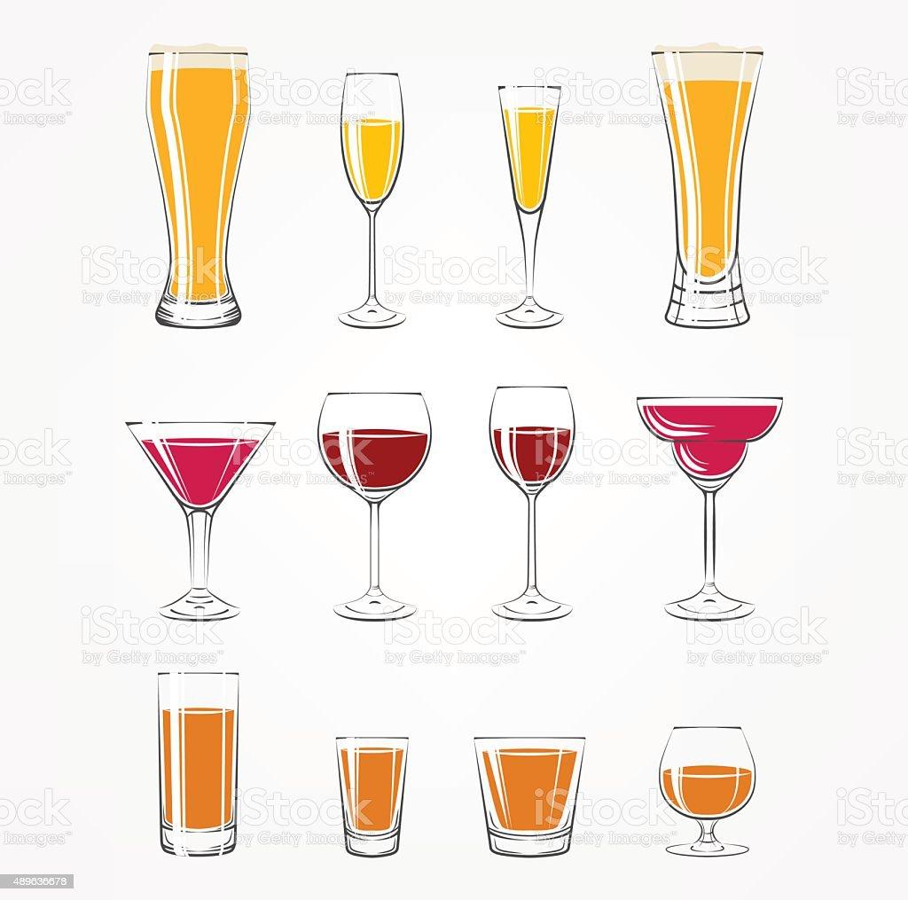 Alcohol glass vector art illustration