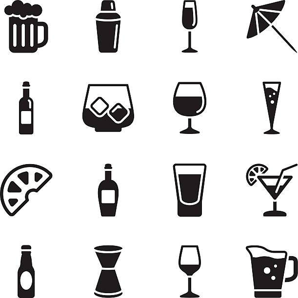 Alcohol Icons Vector File of Alcohol Icons related vector icons for your design or application. alcohol drink icons stock illustrations
