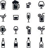 Black & white alcoholic drinks icons