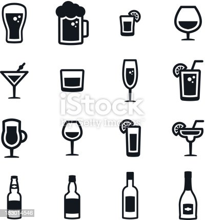Black & white alcoholic drinks icons