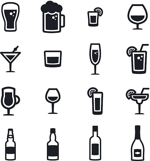 alcohol icons - alcohol drink silhouettes stock illustrations