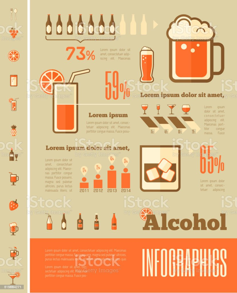 Alcohol Infographic Template. vector art illustration