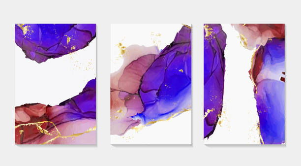 alcohol ink, paint, abstract vector shapes. closeup of the painting. colorful abstract liquid background. highly-textured oil paint. modern fluid flow. contrast red, ultramarine colors. - alcohol drink patterns stock illustrations