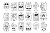 istock Alcohol labels set, retro alcohol industry monochrome emblem vector Illustration on a white background 1159622619