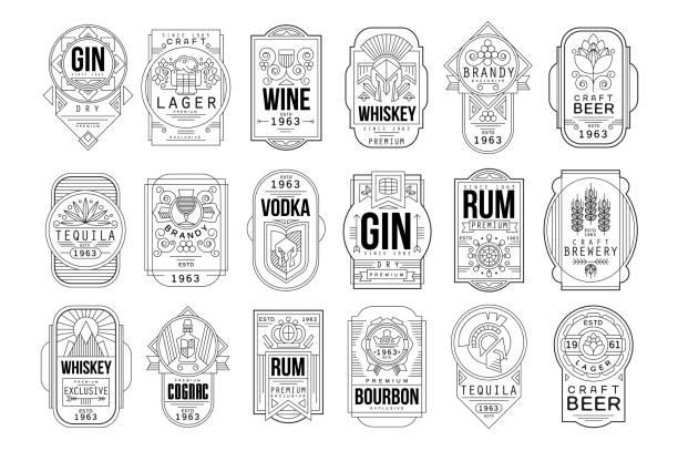 stockillustraties, clipart, cartoons en iconen met alcohol etiketten set, retro alcoholindustrie monochroom embleem vector illustratie op een witte achtergrond - etiket