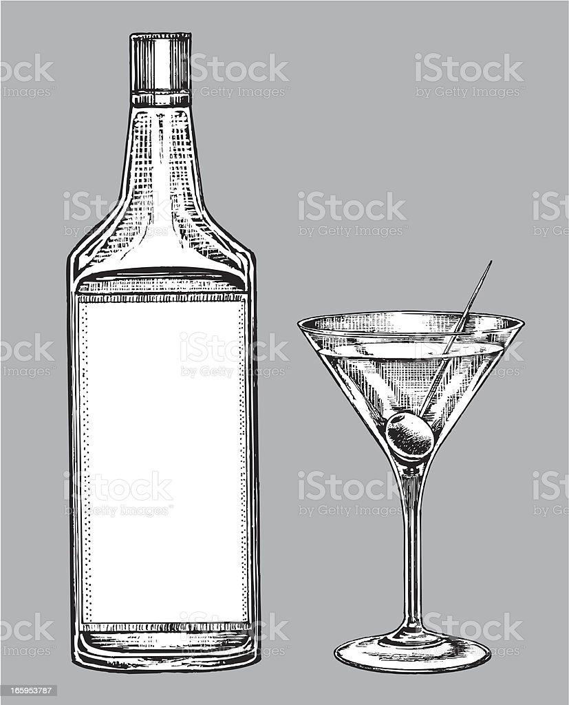 Alcohol - Martini Glass and Gin or Vodka Bottle vector art illustration
