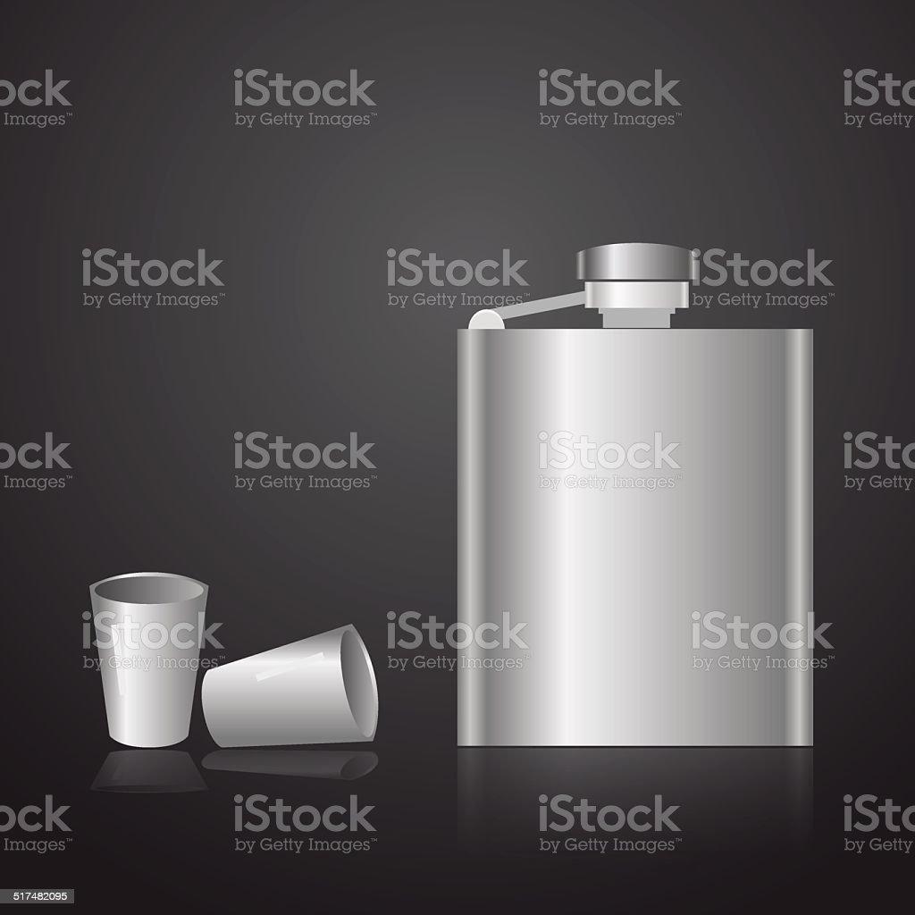 alcohol silver hip flask eps10 vector art illustration