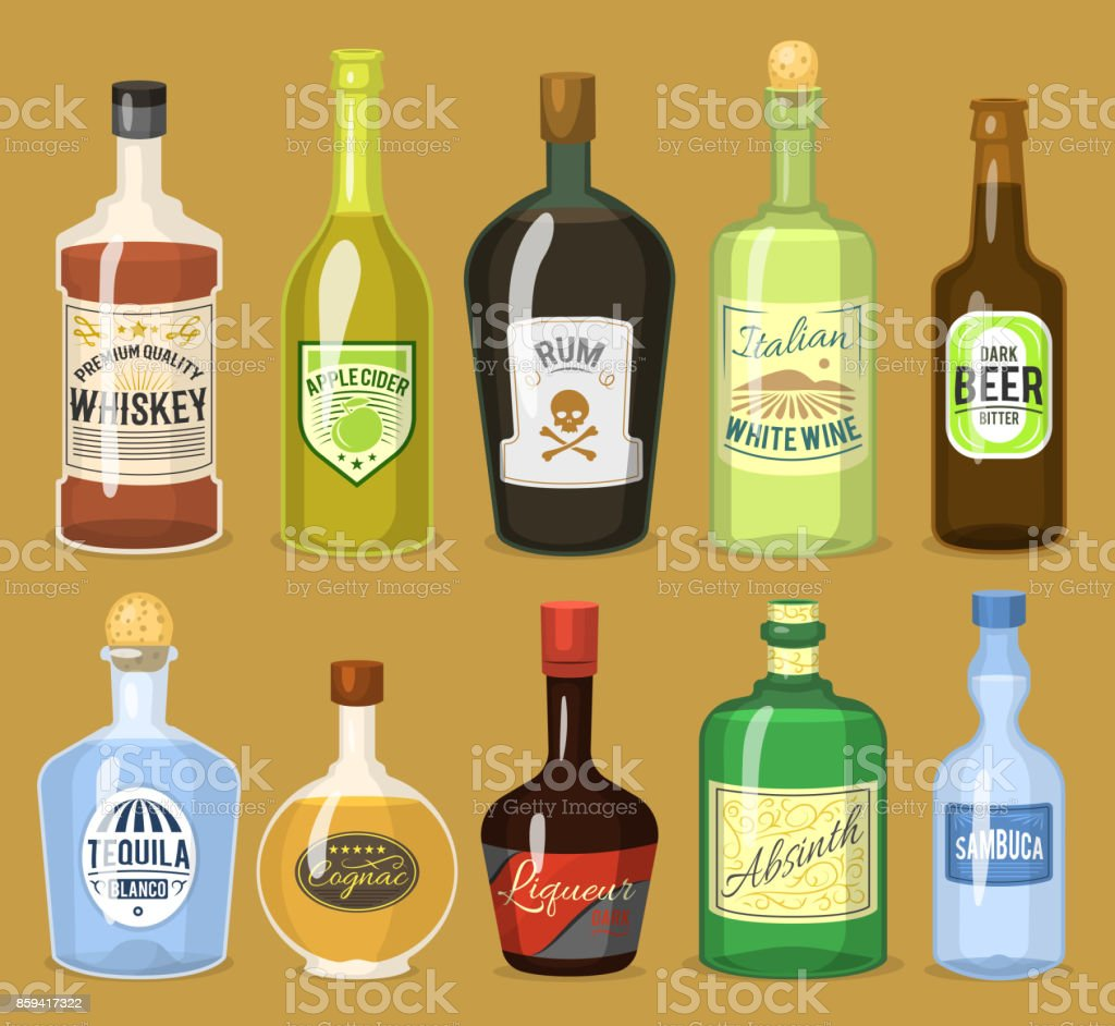 Alcohol strong drinks in bottles cartoon glasses whiskey, cognac, brandy, wine vector illustration vector art illustration