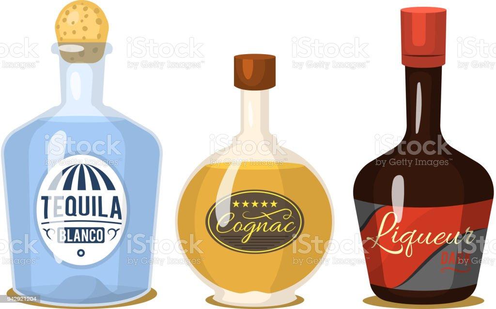 Starker Alkohol Getränke In Flaschen Cartoon Gläser Whisky Cognac ...