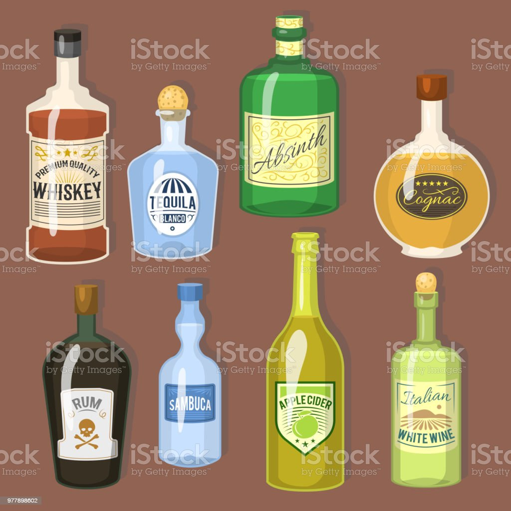 Alcohol Strong Drinks In Bottles Cartoon Glasses Whiskey