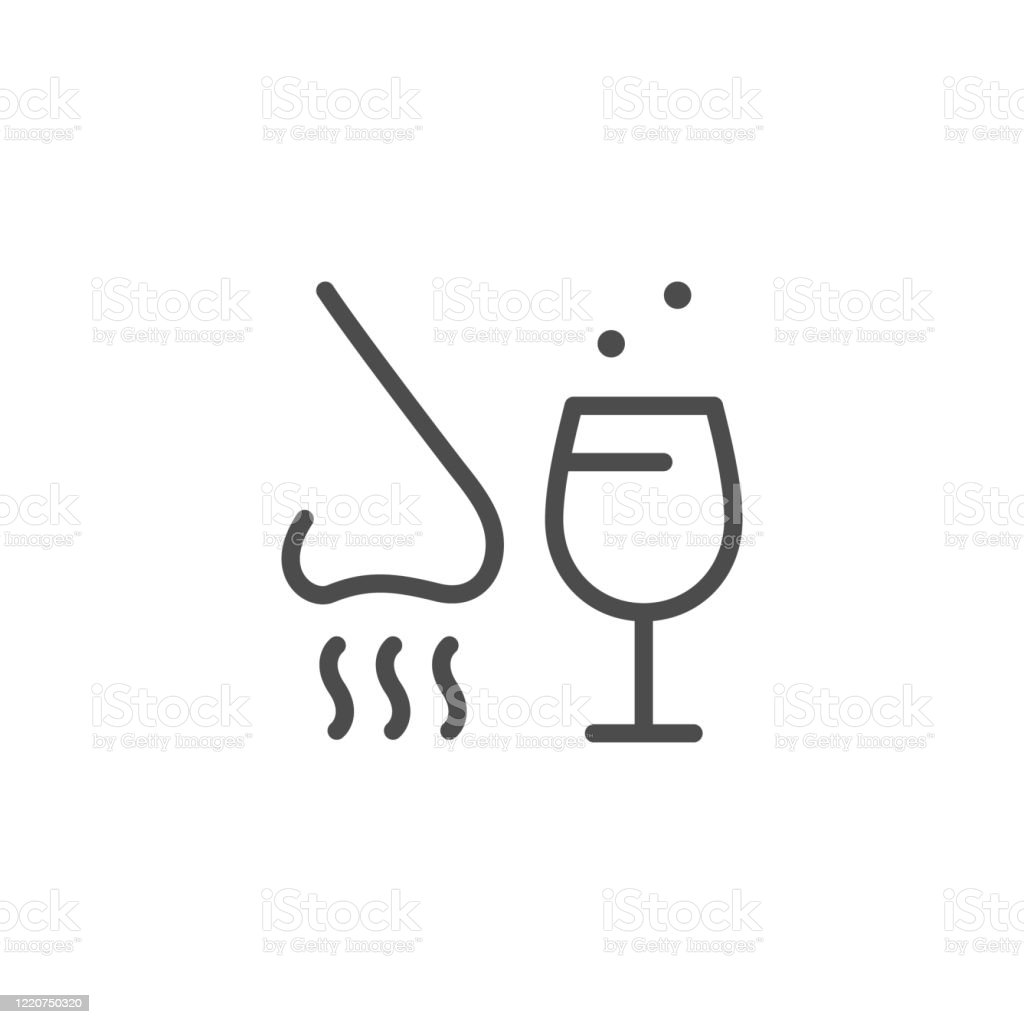 Alcohol tasting line outline icon - arte vettoriale royalty-free di Alchol