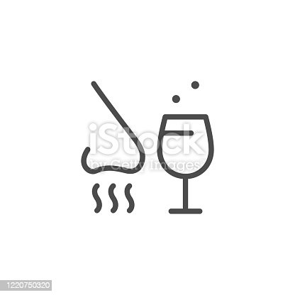 Alcohol tasting line outline icon isolated on white. Nose and wineglass sign. Degustation, scent, taste. Sommelier. Vector illustration