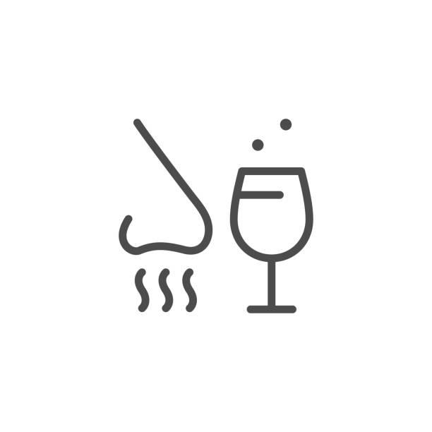 Alcohol tasting line outline icon Alcohol tasting line outline icon isolated on white. Nose and wineglass sign. Degustation, scent, taste. Sommelier. Vector illustration scented stock illustrations