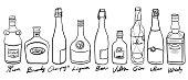 Variety of alcohol bottles, freehand drawn illustration