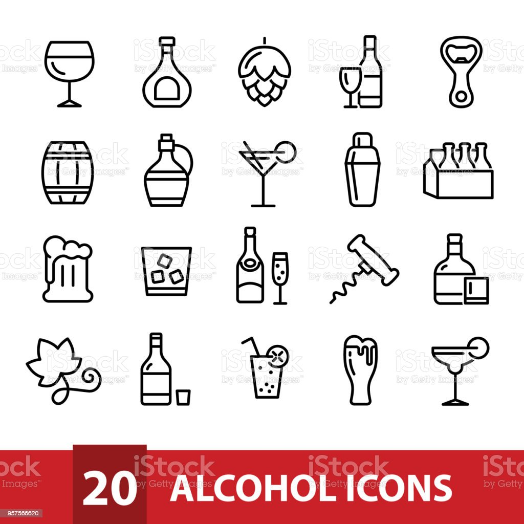 alcohol vector icons collection royalty-free alcohol vector icons collection stock illustration - download image now