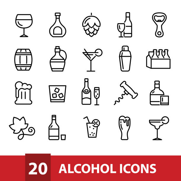 alcohol vector icons collection vector art illustration