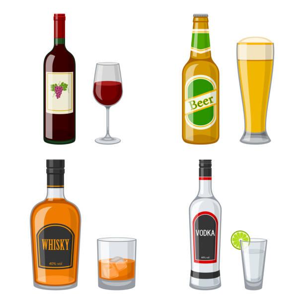 alcohol Illustrationen visar fyra flaskor av olika sorters alkohol beer alcohol stock illustrations
