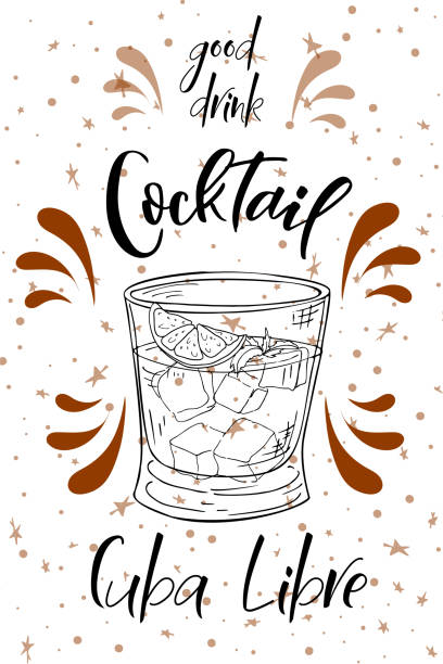 illustrazioni stock, clip art, cartoni animati e icone di tendenza di alcoholc cocktail cuba libre. party summer poster. vector background - aperitivo