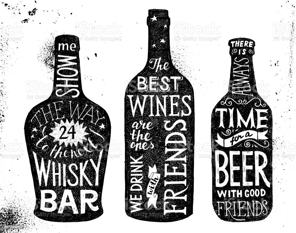 Alcoholic beverages, hand drawn lettering set vector art illustration