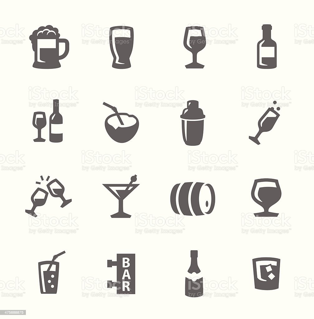 alcoholic beverages icons vector art illustration