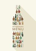 Beverages menu. Bottles of alcoholic beverages in bottle shape. Vector flat illustration