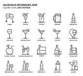 Alcoholic beverages, square icon set