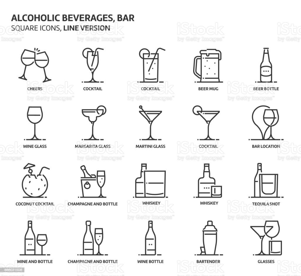 Alcoholic beverages, square icon set vector art illustration