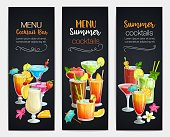 Alcoholic cocklails banners. Summer beach alcoholic drinks. Holiday and beach party vector background. Long island, bloody mary, margarita, mai tai, pina colada, blue lagoon