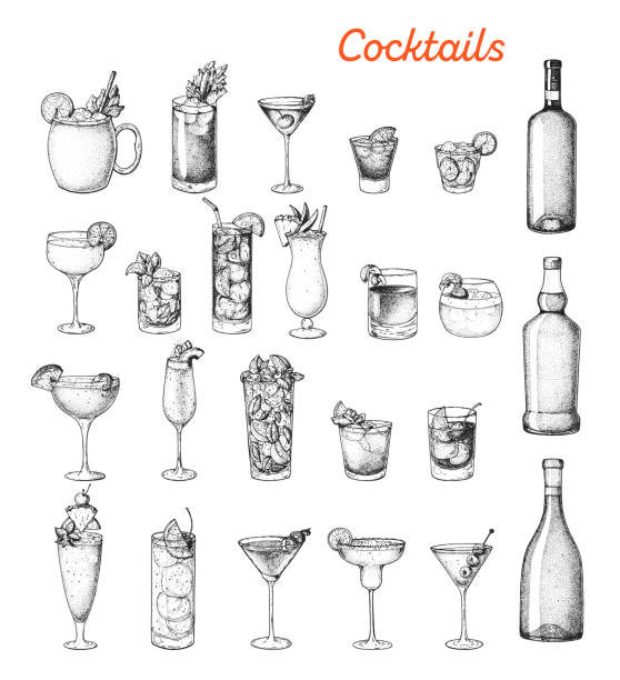 Alcoholic cocktails hand drawn vector illustration. Sketch set. Cognac, brandy, vodka, tequila, whiskey, champagne, wine, margarita cocktails. Bottle and glass. Alcoholic cocktails hand drawn vector illustration. Sketch set. Cognac, brandy, vodka, tequila, whiskey, champagne, wine, margarita cocktails. Bottle and glass. alcohol drink drawings stock illustrations