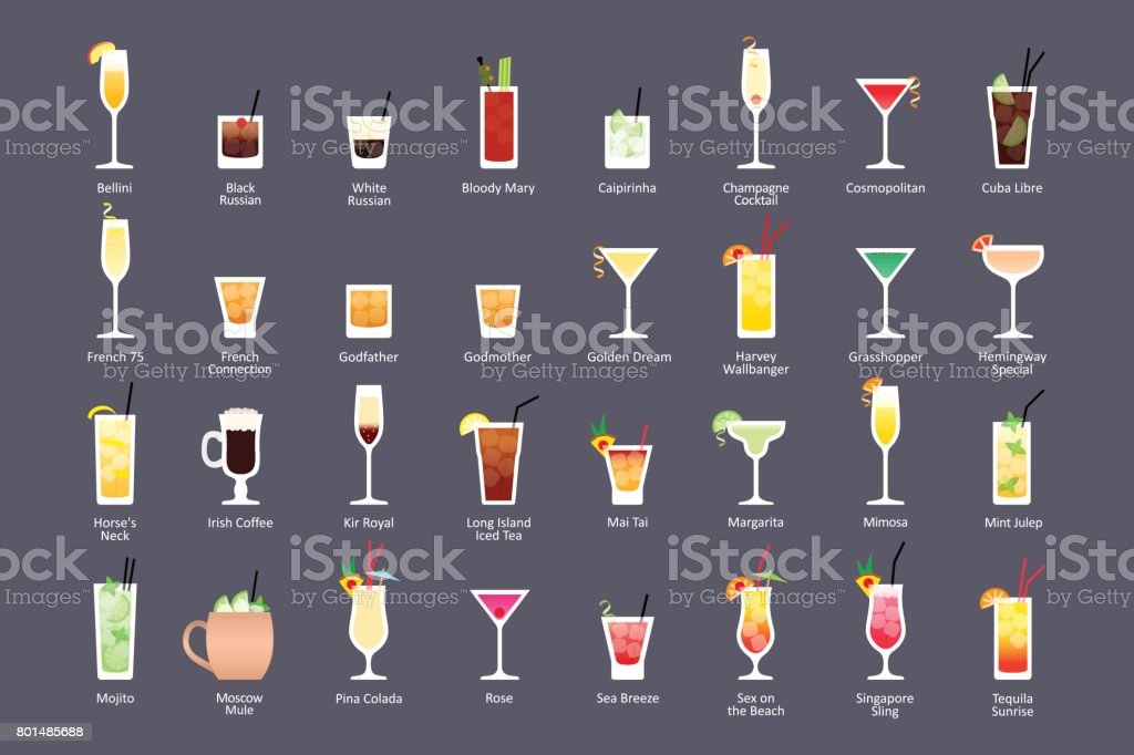 Alcoholic cocktails, IBA official cocktails Contemporary Classics. Icons set in flat style on dark background vector art illustration