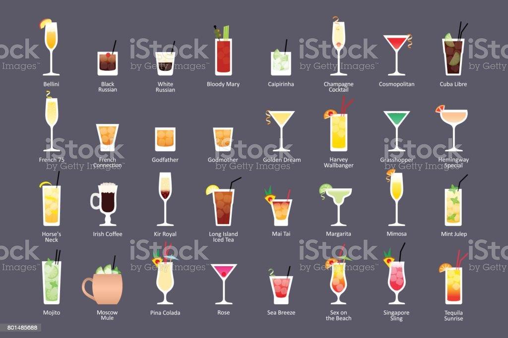 Cocktails alcoolisés, IBA officiels cocktails classiques contemporains. Icônes définies dans le style plat sur fond foncé - Illustration vectorielle