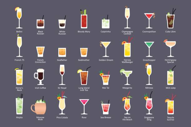 alcoholic cocktails, iba official cocktails contemporary classics. icons set in flat style on dark background - alcohol drink silhouettes stock illustrations
