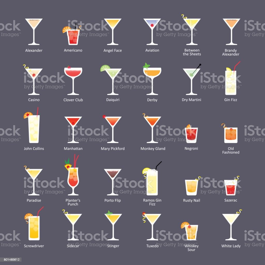 Alcoholic cocktails, IBA official cocktails The Unforgettables. Icons set in flat style on dark background vector art illustration