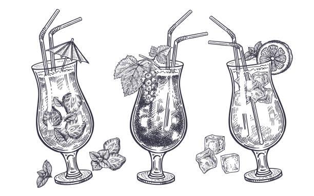 alkoholische cocktails festgelegt. - cocktailsauce stock-grafiken, -clipart, -cartoons und -symbole