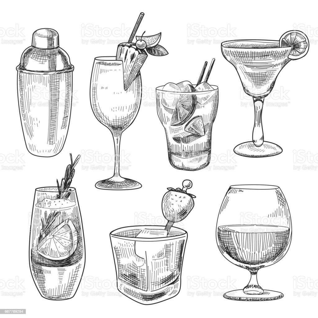 Alcoholic cocktails sketch royalty-free alcoholic cocktails sketch stock illustration - download image now