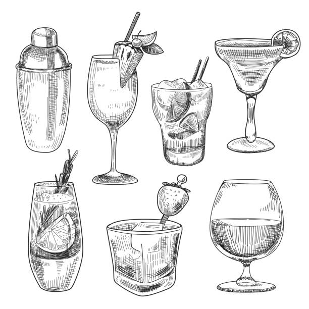 alcoholic cocktails sketch - alcohol drink drawings stock illustrations