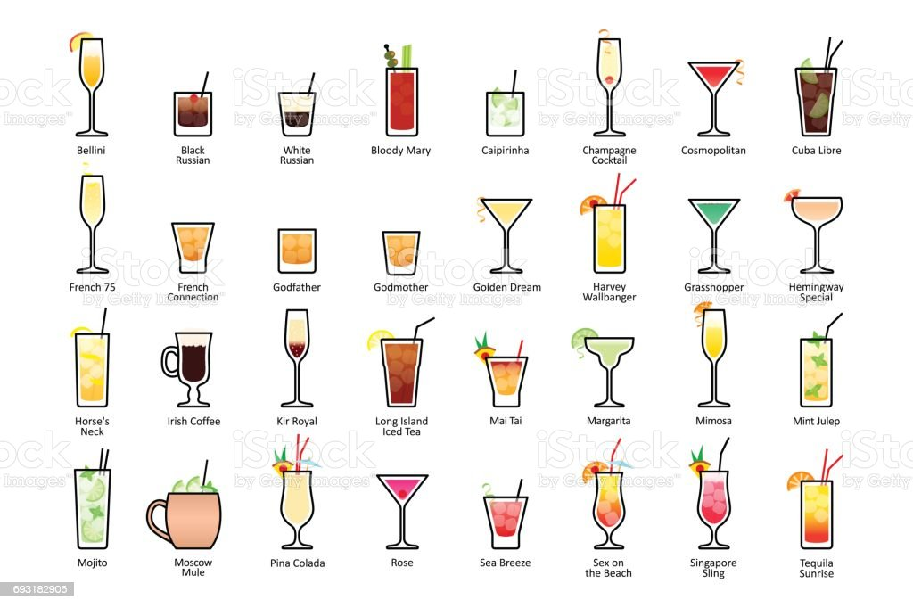 Alcoholic cocktails with titles. IBA official cocktails, Contemporary Classics vector art illustration