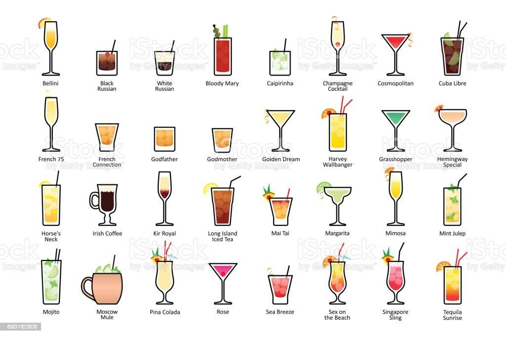 Coquetéis alcoólicos com títulos. Coquetéis oficiais de IBA, clássicos contemporâneos - ilustração de arte em vetor