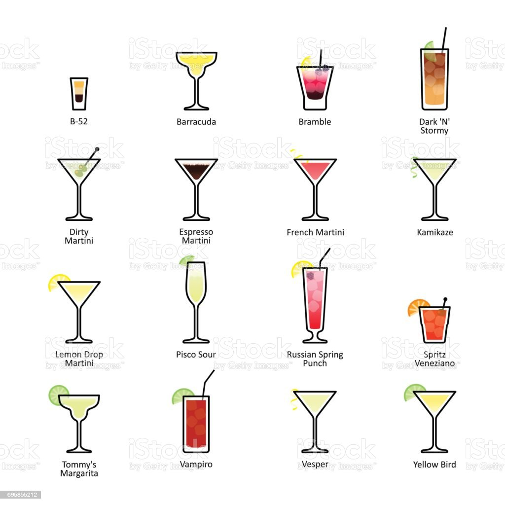 Alcoholic cocktails with titles. IBA official cocktails, New Era Drinks vector art illustration