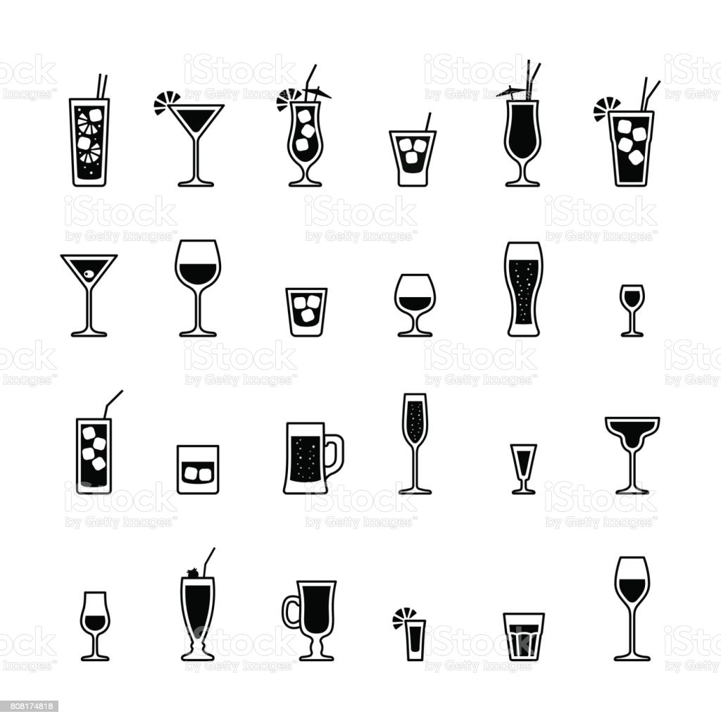 Alkoholische Getränke Und Cocktails Schwarze Und Weiße Icons Set ...