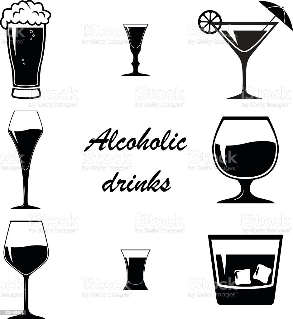 Alcoholic drinks and glasses. vector art illustration