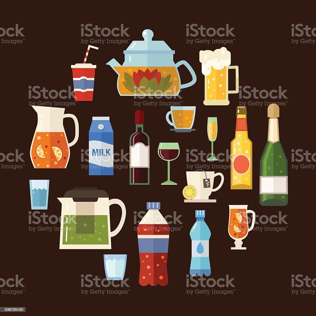 Bebidas alcohólicas y sin alcohol, bebidas ilustración de bebidas alcohólicas y sin alcohol bebidas y más banco de imágenes de alcohol libre de derechos