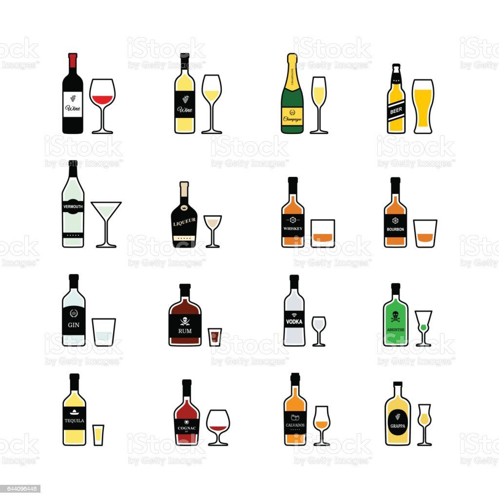 Alcoholic drinks, bottles and recommended glasses. Vector icons set vector art illustration