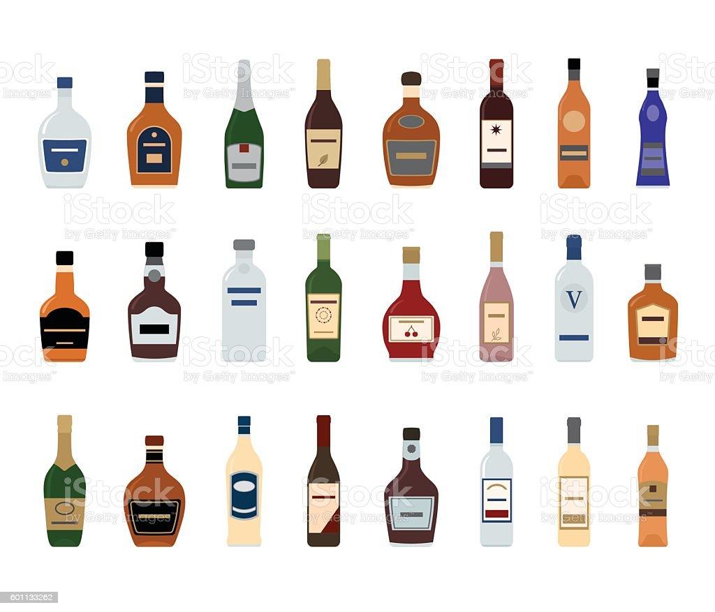 Flaschen Alkoholische Getränke Vektor Illustration 601133262 | iStock