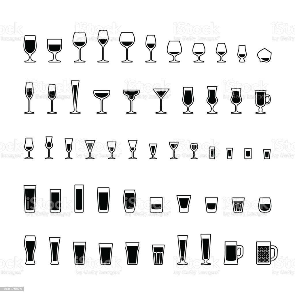 Alcoholic drinks glasses black and white icons set vector art illustration