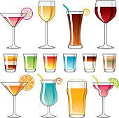 A large set of different alcoholic drinks icons (beer, martinis, tropical cocktails, and shots). This download includes an AI8 CMYK EPS vector file as well as a high resolution RGB JPEG file (minimum 1900 x 2800 pixels).