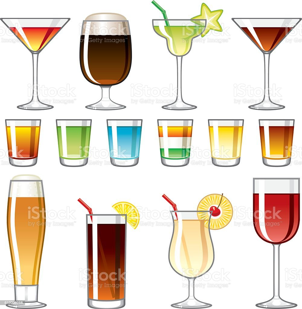 Alkoholische Getränke Symbolset Stock Vektor Art und mehr Bilder von ...