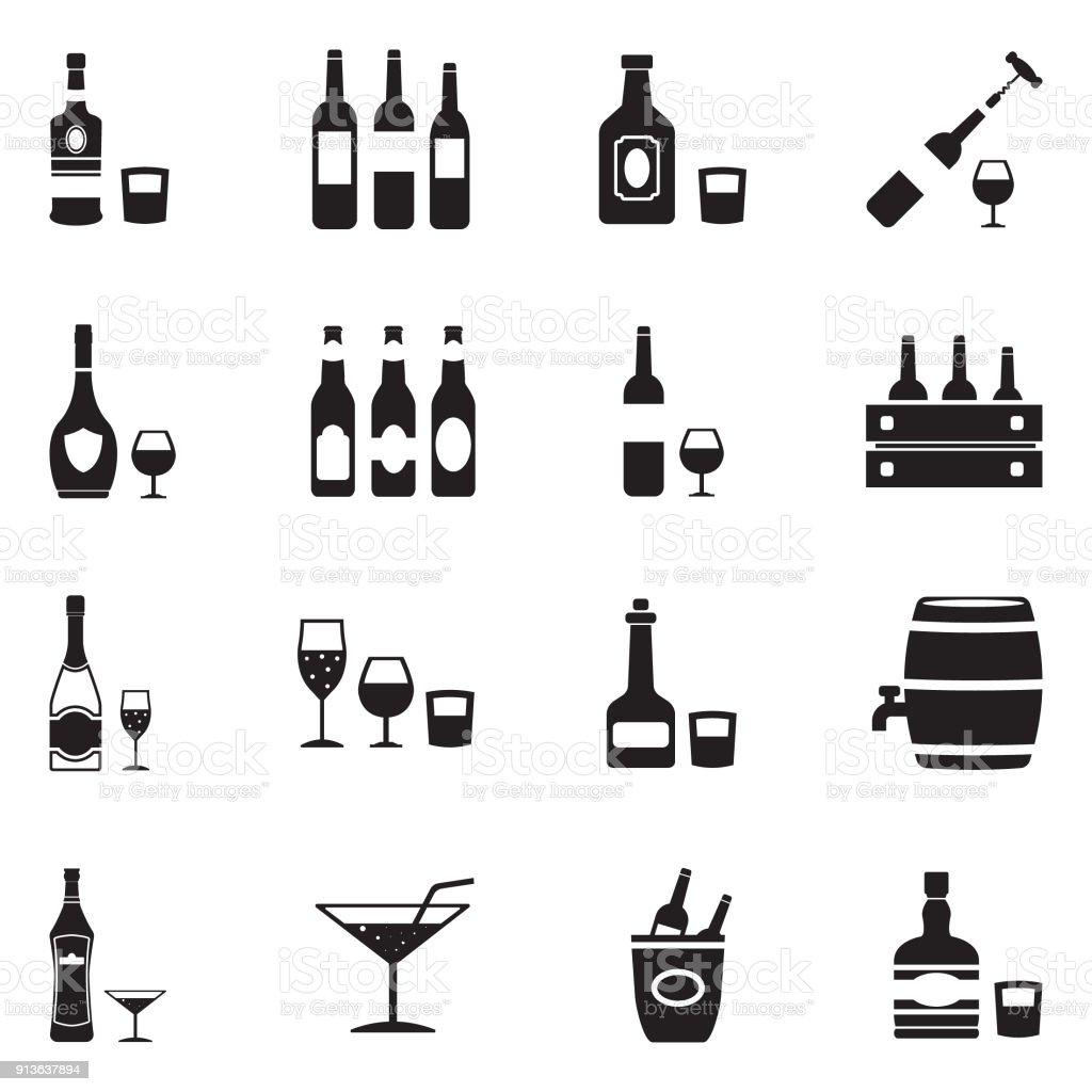 Alcoholic Drinks Icons. Black Flat Design. Vector Illustration. vector art illustration